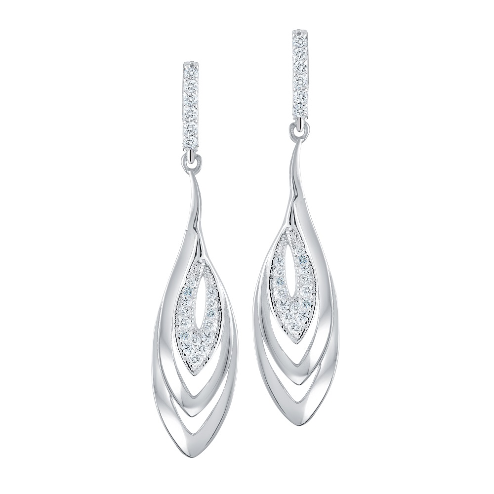 Dangling stud earrings in sterling silver with cubic zirconia