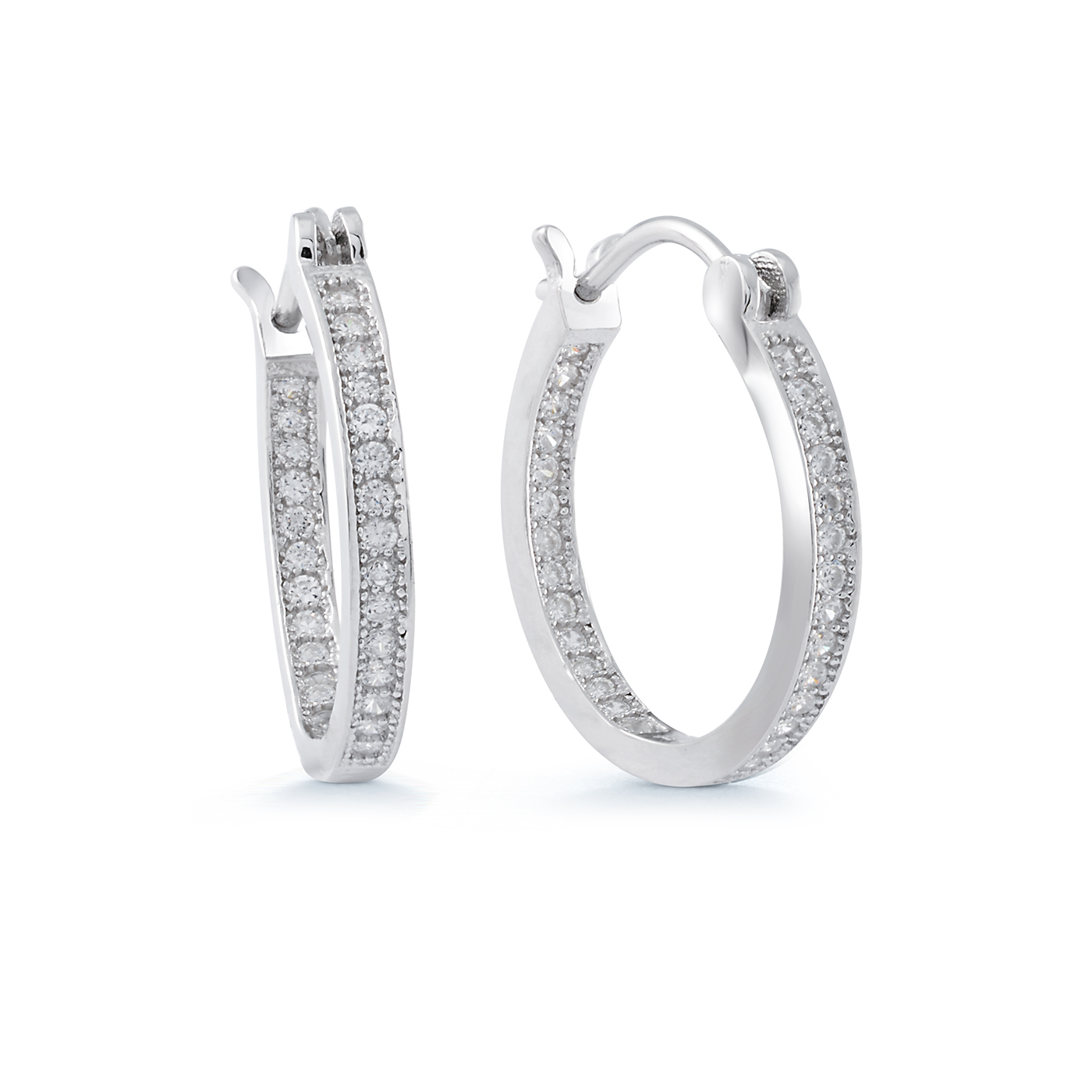 Hoop earrings in sterling silver with cubic zirconia