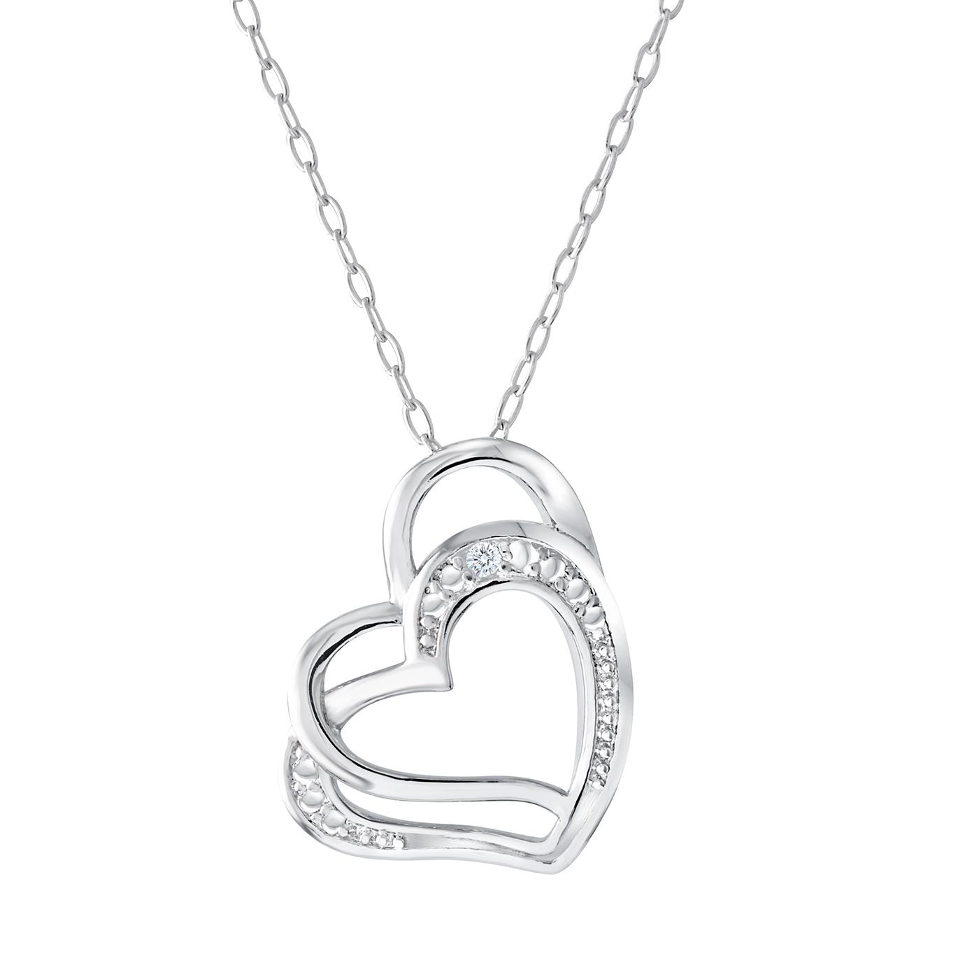 Pendentif double coeur en argent sterling sertis d'une touche de diamant - chaîne incluse