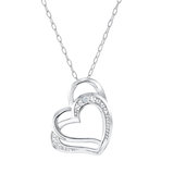 Double heart pendant in sterling silver with diamond accent - chain included