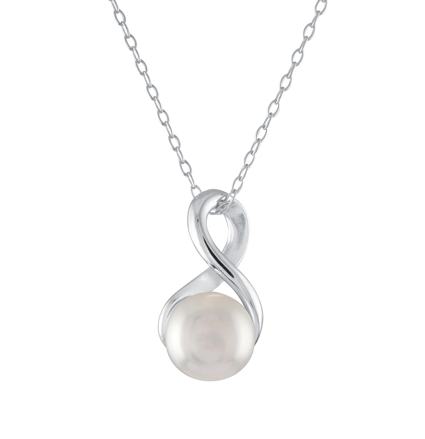 Pendentif en argent sterling serti d'une perle (7mm) - chaîne de 18 pouces incluse
