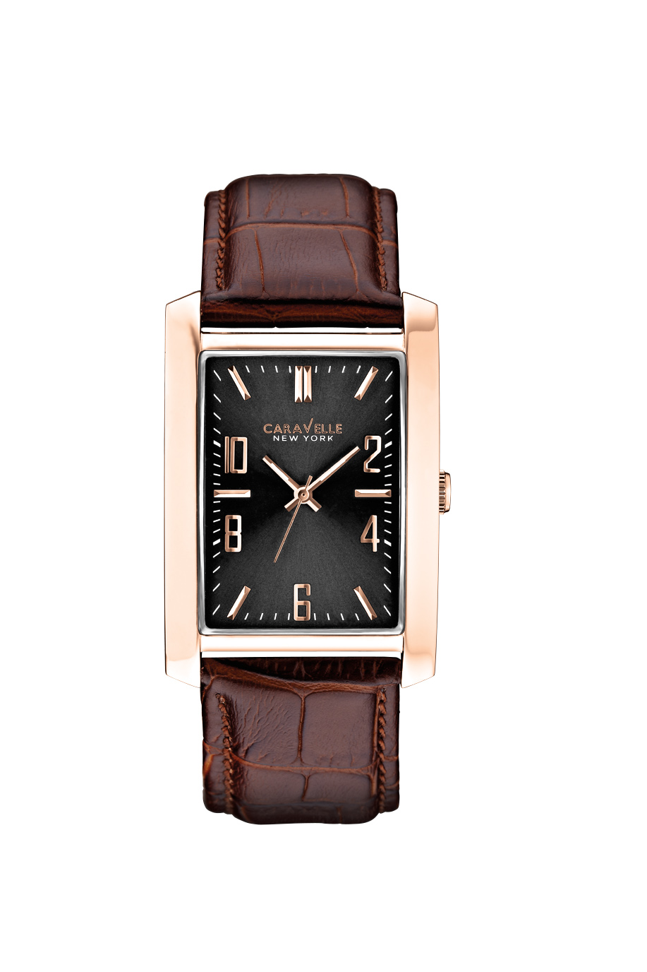 New York watch for men - Pink gold-tone stainless steel case & dark brown leather strap.