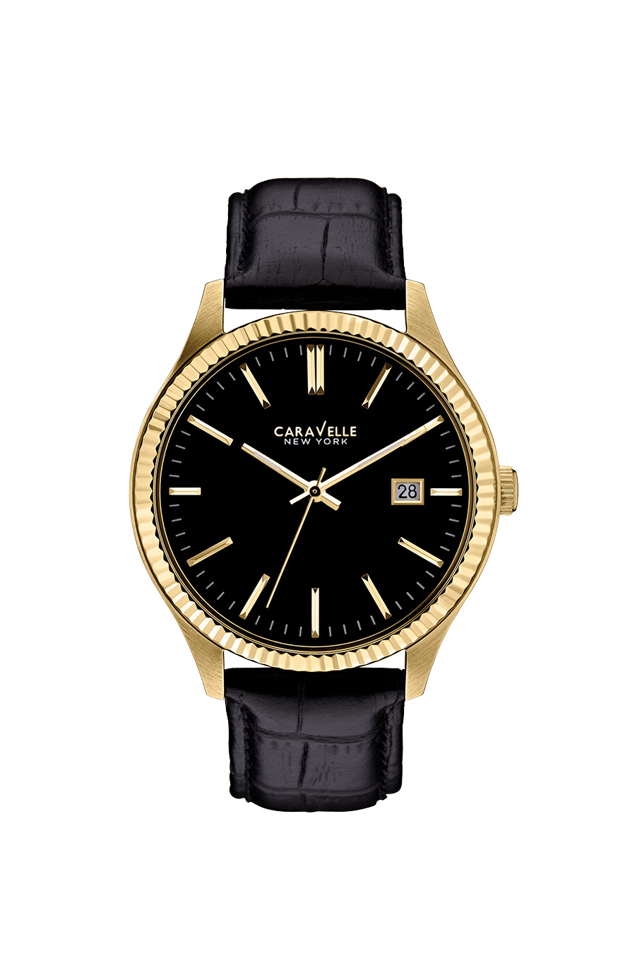 New York watch for men - Yellow gold-tone stainless steel case & Black leather strap.