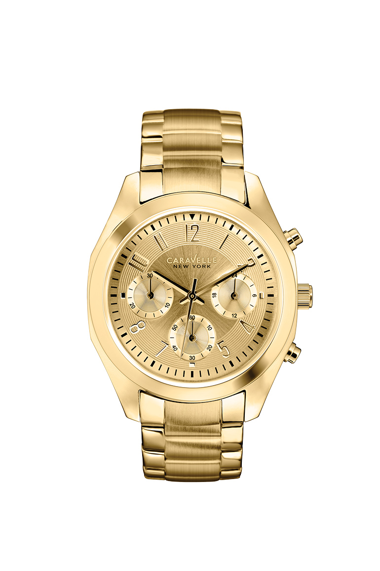 New York watch for women in yellow gold-tone stainless steel. Chronograph. Double-press fold-over clasp