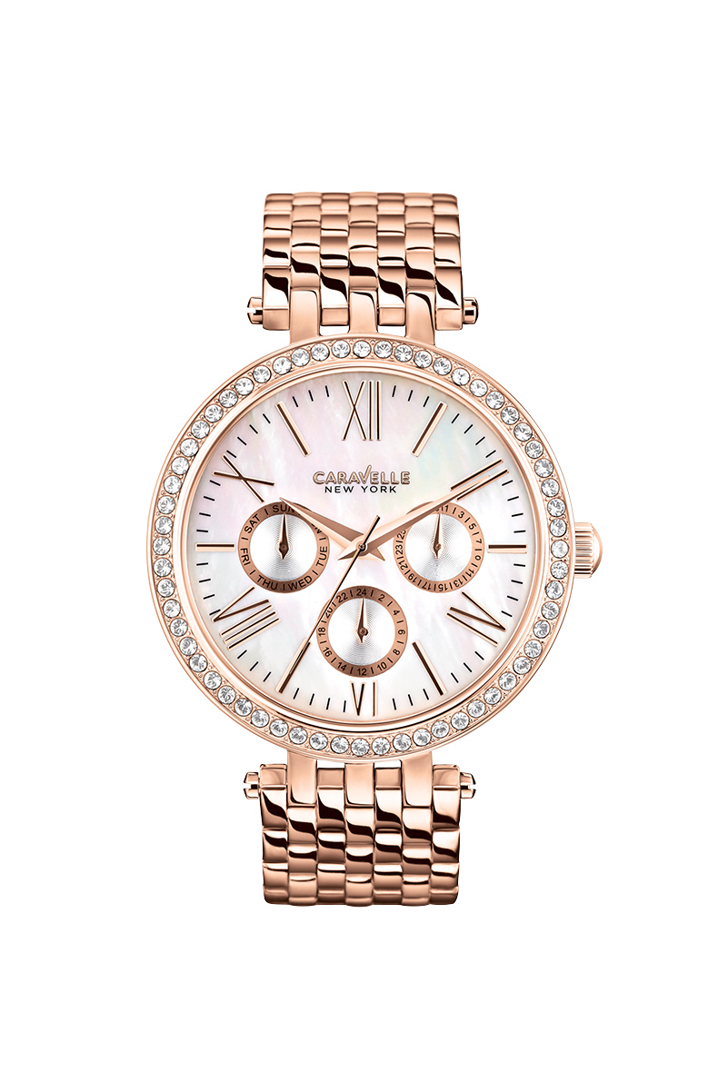 New York multifunction watch for women - Stainless steel with rose-gold finish.
