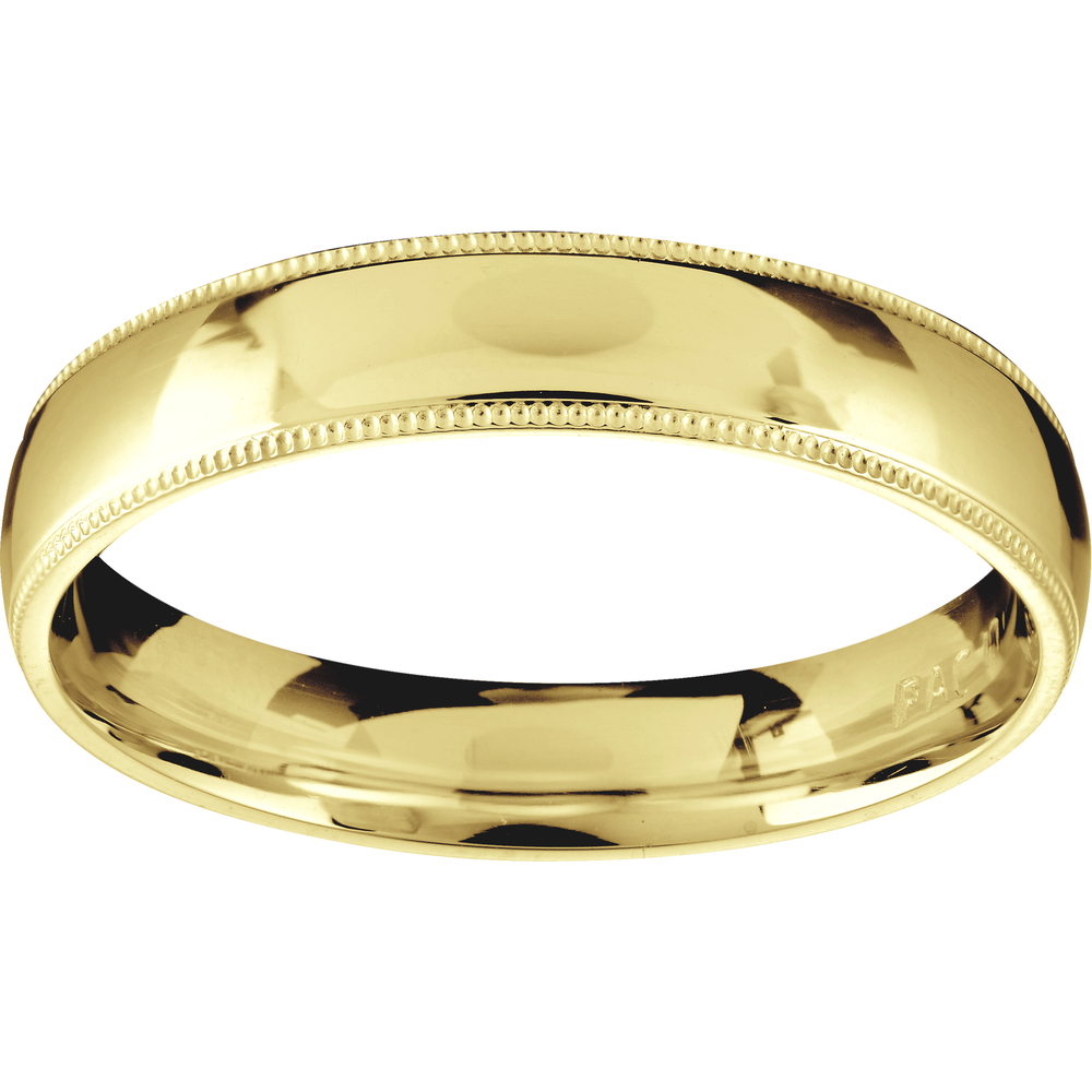 Millegrain band for man - 10K yellow gold