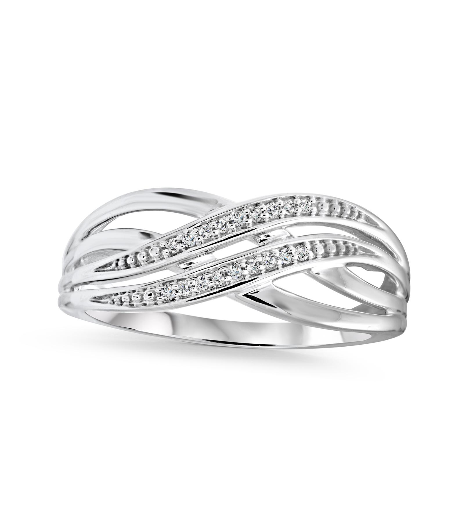 Bague pour femme - Or blanc 10K & Diamants totalisant 0.05 Carat