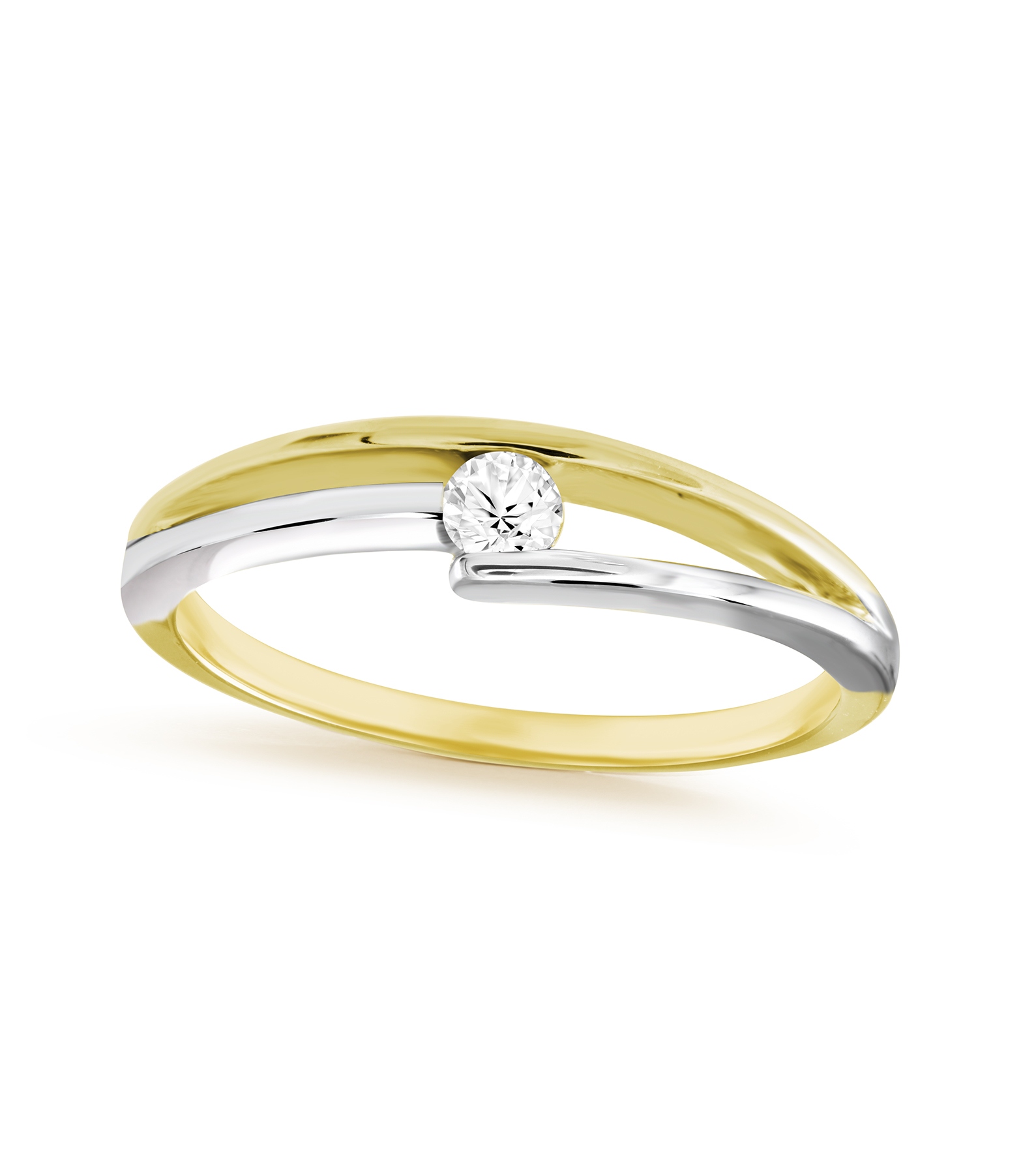 Women's ring - 10K 2-tone Gold (yellow and white) & Solitaire diamond  0.10 Carat T.W.