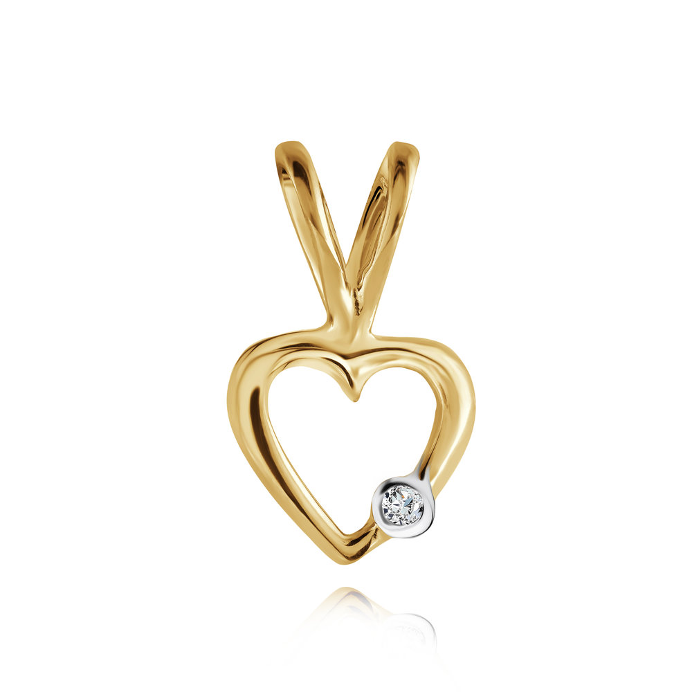 Heart pendant for young girl with diamond accent - in 10K yellow gold