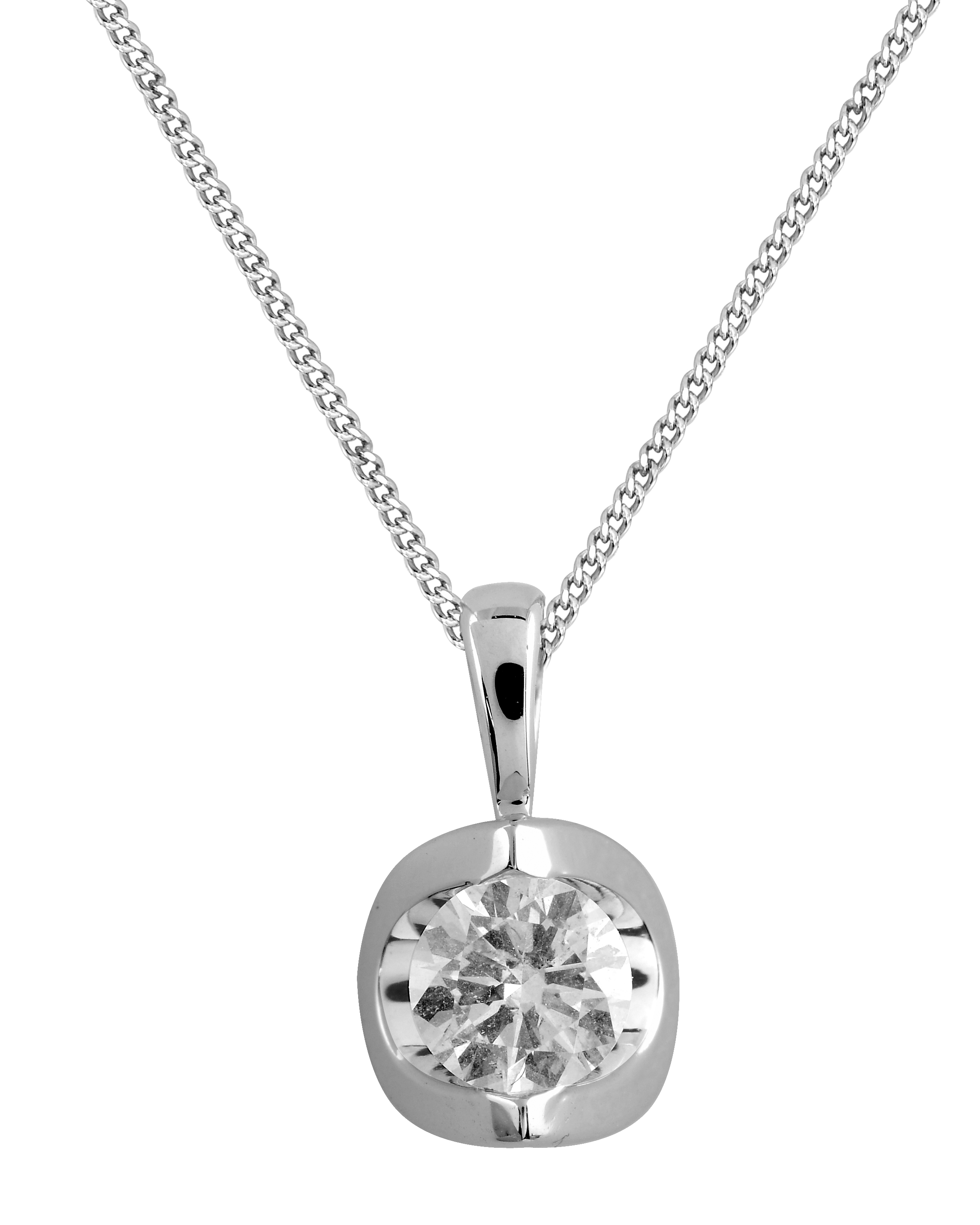 Diamond pendant 0.10 Carats T.W. Clarity:I Color:GH - in 14K white gold - chain included