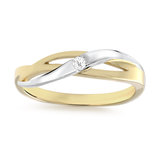 Women's ring - 10K 2-tone Gold (yellow and white) & Cubic zirconia
