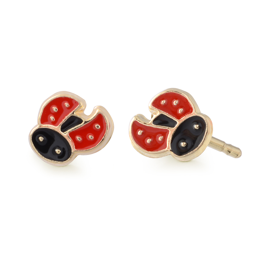 Ladybug Stud earrings for babies/children - 10K yellow Gold & enamel