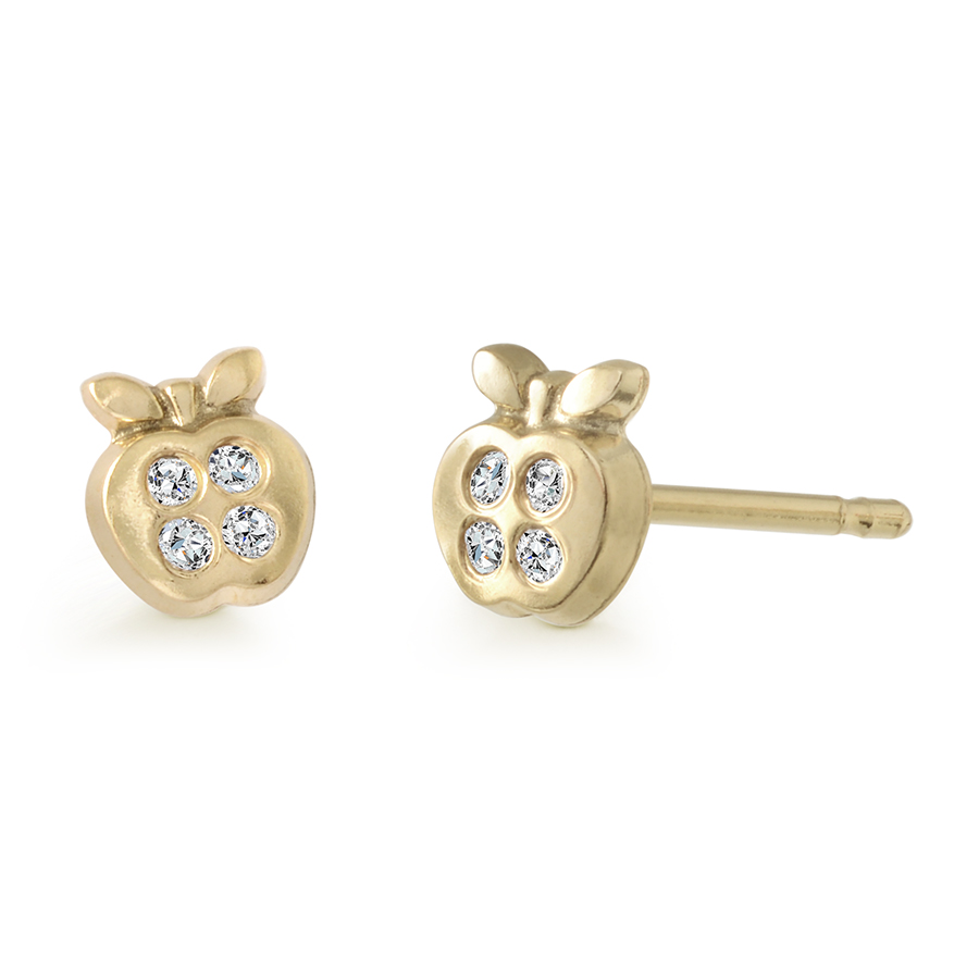 Boucles d'oreilles pommes à tiges fixes serties de zircons cubiques pour bébés/enfants - Or jaune 10K