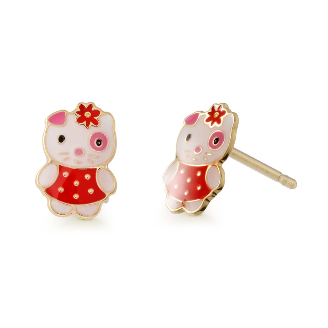 Puppy enamel stud earrings for babies/children - 10K yellow Gold
