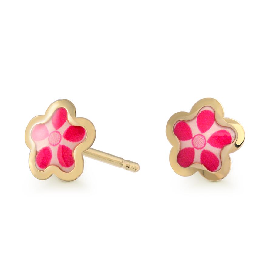 Boucles d'oreilles fleurs en émail à tiges fixes pour bébés/enfants - Or jaune 10K