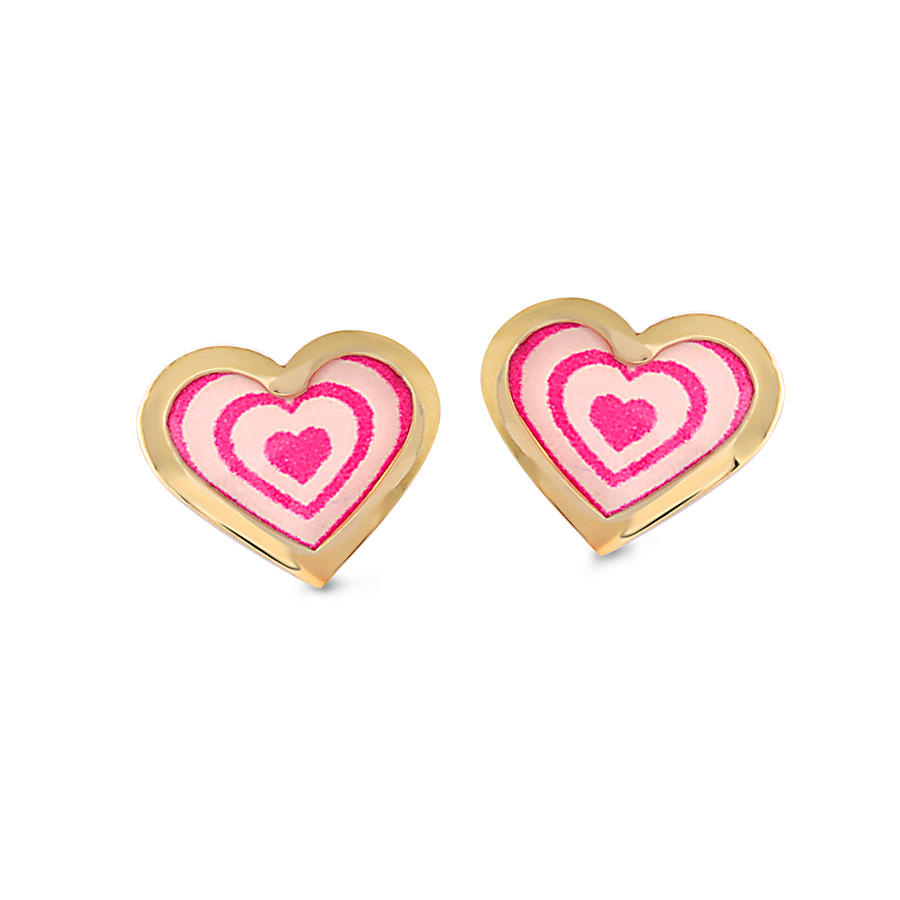 Heart enamel stud earrings for babies/children - 10K yellow Gold
