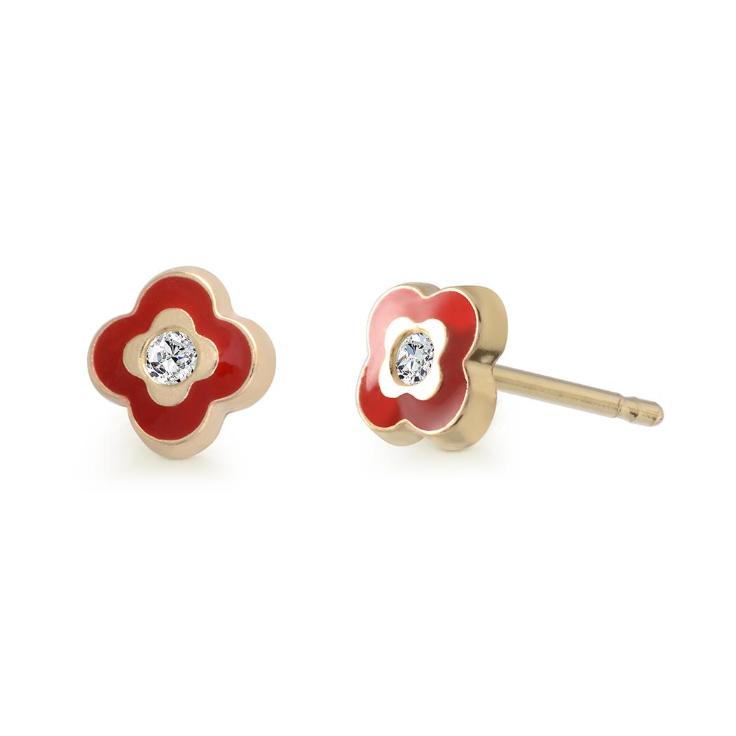 Boucles d'oreilles fleurs en émail à tiges fixes serties de zircons cubiques pour bébés/enfants - Or jaune 10K