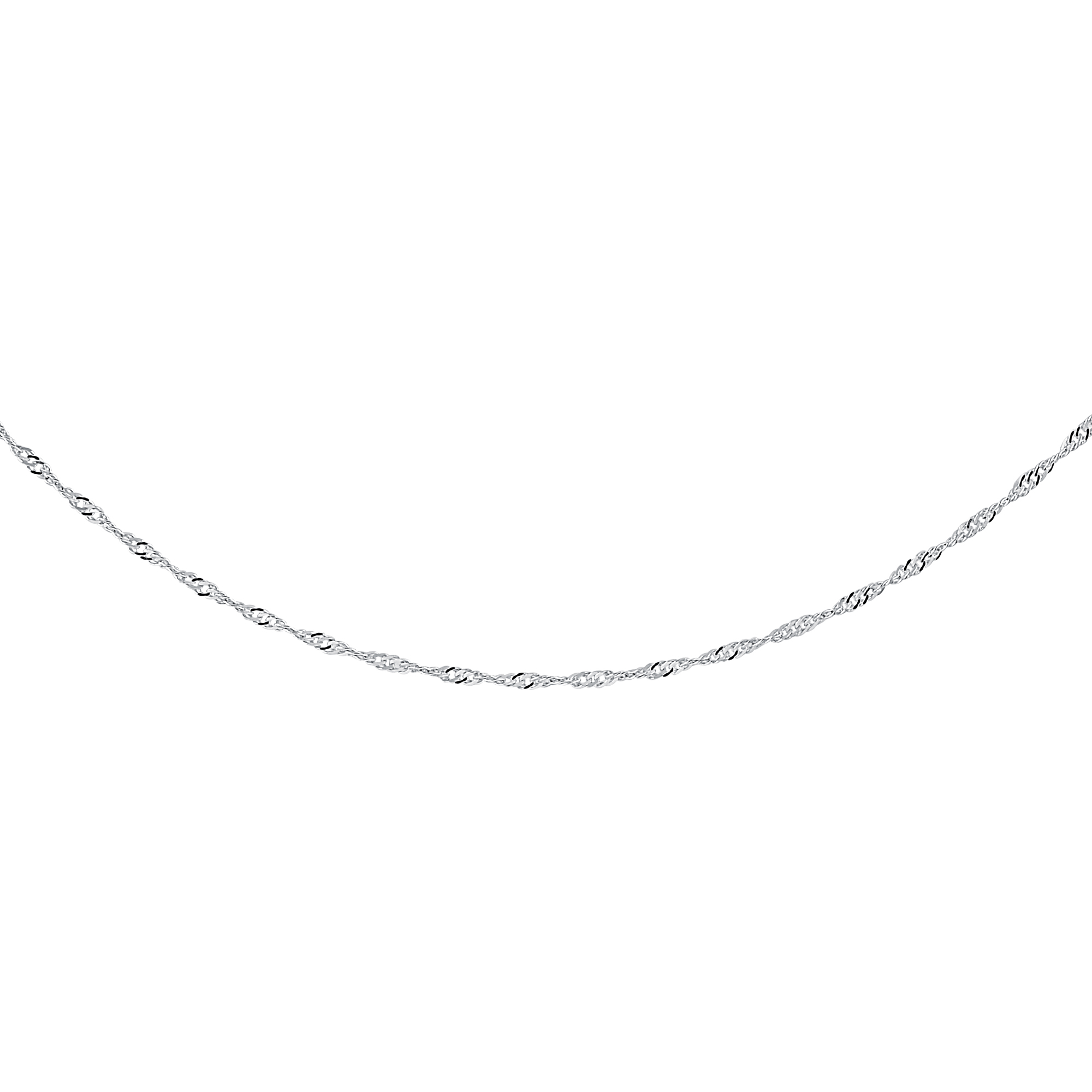 18'' Singapore Chain for women - 10K white Gold
