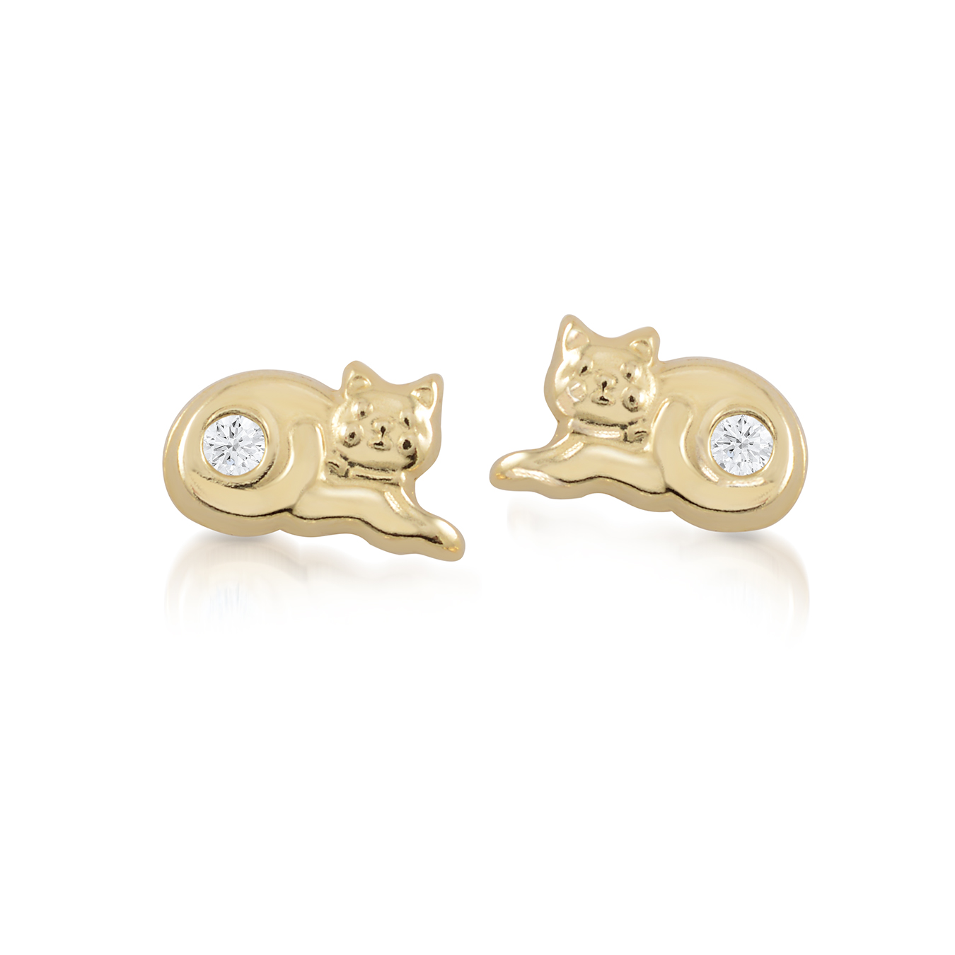Boucles d'oreilles chats à tiges fixes pour bébé avec zircons cubiques - en Or jaune 10K