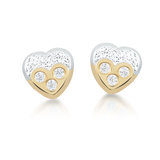 Heart stud earrings for babies - 10K 2-tone gold (yellow and white) & cubic zirconia