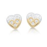 Boucles d'oreilles coeurs à tiges fixes pour bébé  - Or 2-tons 10K (jaune et blanc) & zircons cubiques
