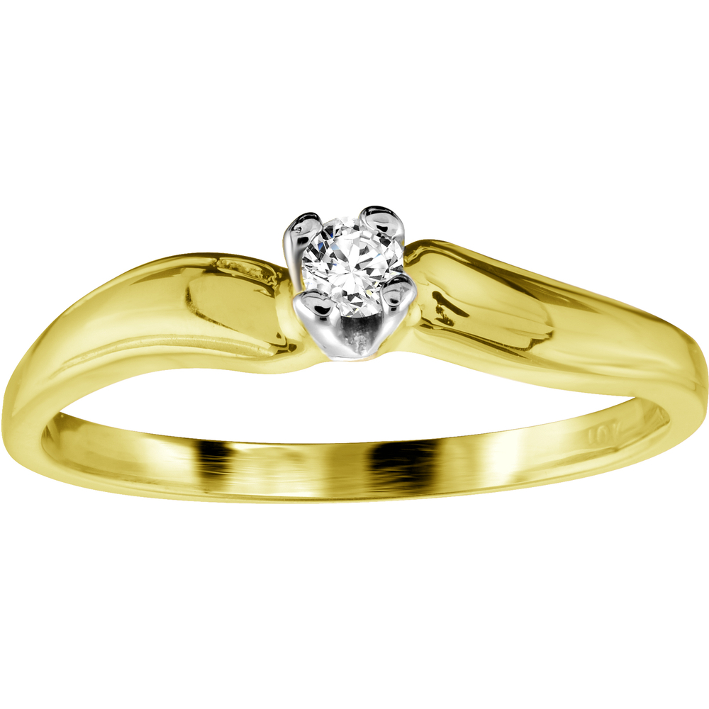 Engagement Ring - 10K yellow Gold & Diamond 0.07 Carat T.W.