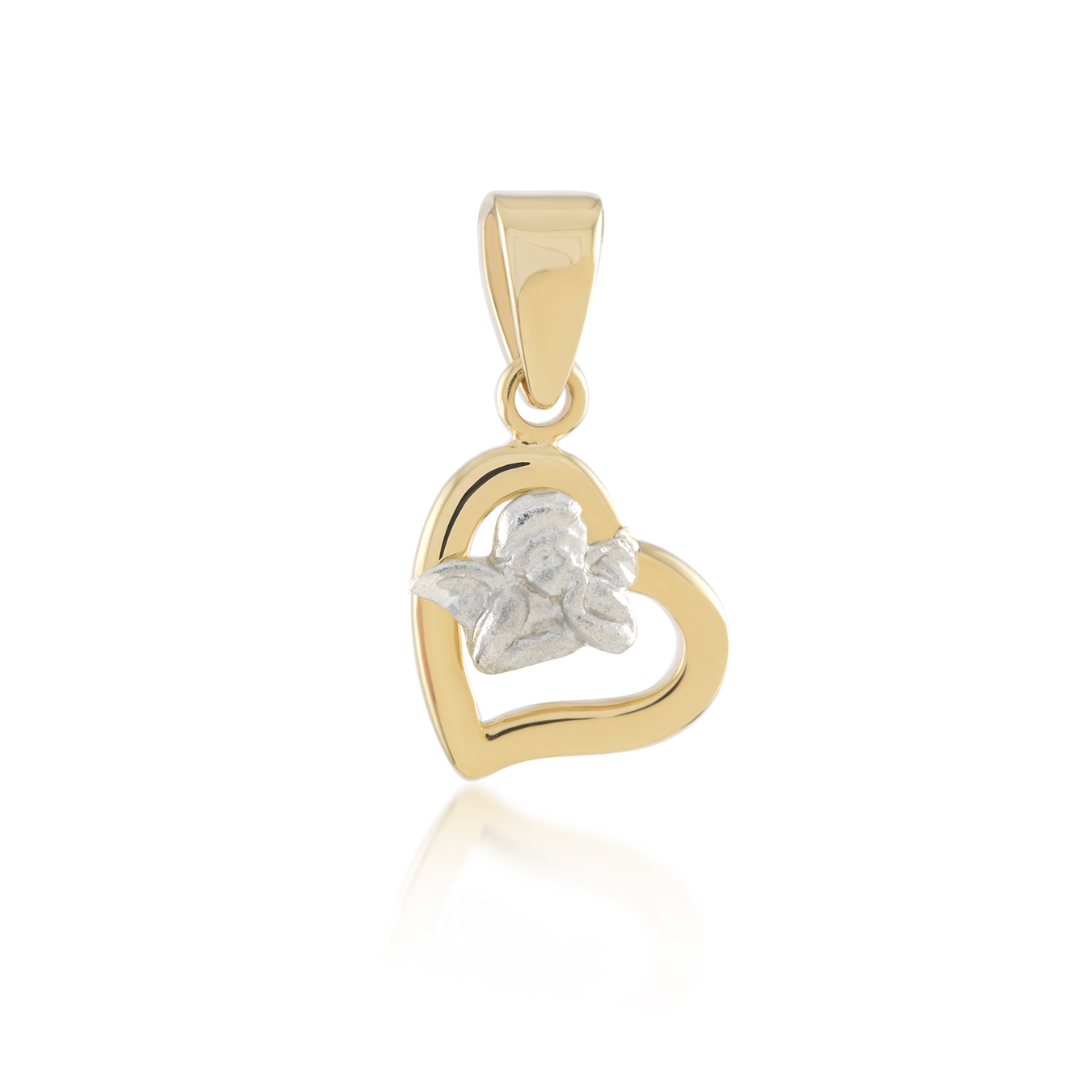 Heart with angel pendant for children - 10K 2-tone Gold (yellow and white)