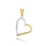 Heart pendant - 10K 2-tone Gold (yellow and white)