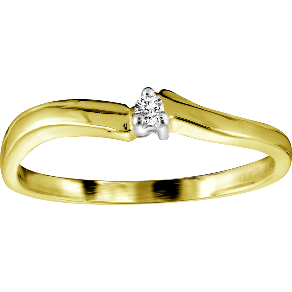 Wedding band - 10K yellow Gold & Diamond
