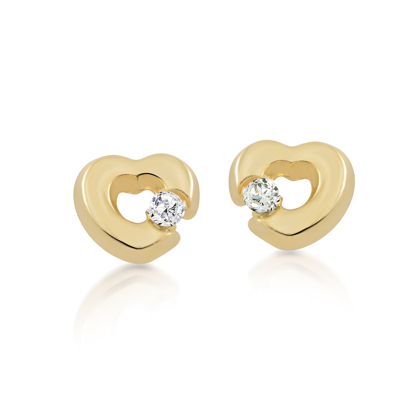 Heart stud earrings for babies with cubic zirconia - in 10K yellow gold