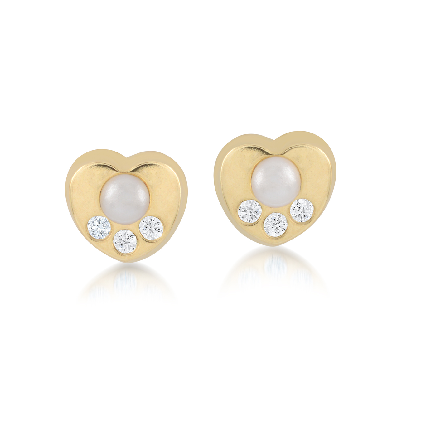 Heart stud earrings for babies with cubic zirconia and pearls - 10K yellow Gold
