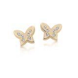 Boucles d'oreilles papillons à tiges fixes pour bébé - Or jaune 10K & zircons cubiques