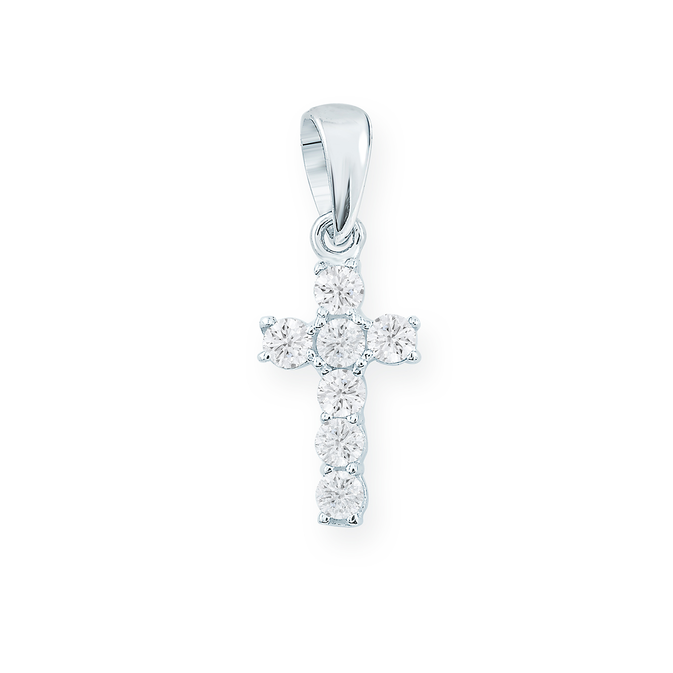 Cross pendant for children with cubic zirconia - in 10K white gold - Cross measurements: 0.6cm by 1.1cm