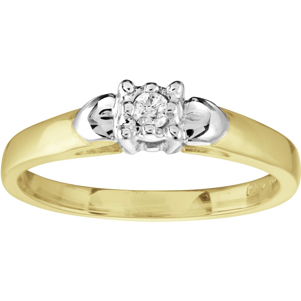 Bague de fiançailles pour femme - Or jaune 10K & Diamant solitaire