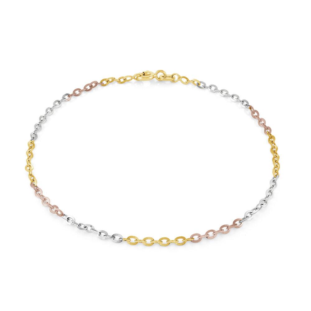 7.5'' Bracelet - 10K 3-tone gold (yellow white and rose)