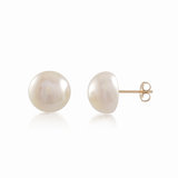 Stud earrings with 10-11mm white fresh water pearls - in 14K yellow gold