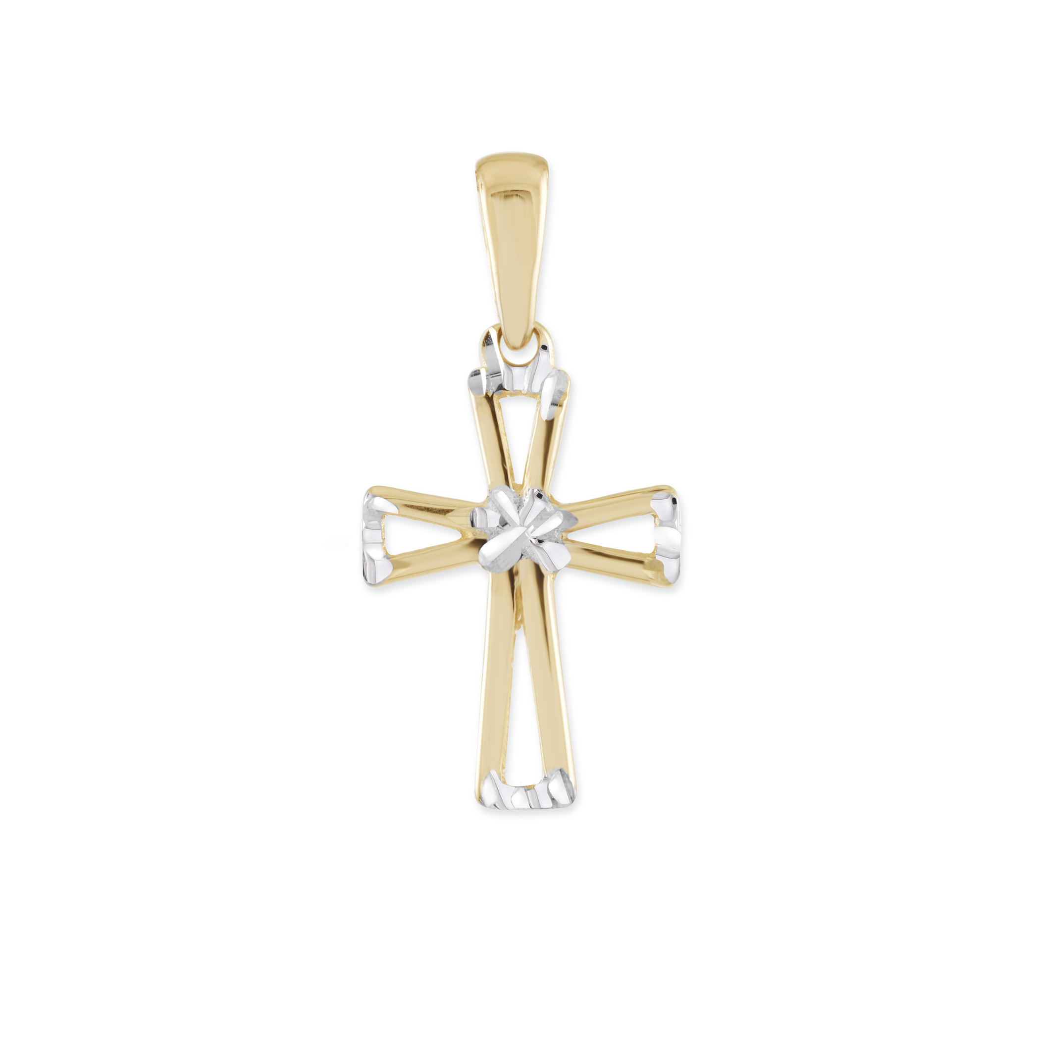 Cross pendant for children - 10K 2-tone Gold (yellow and white)