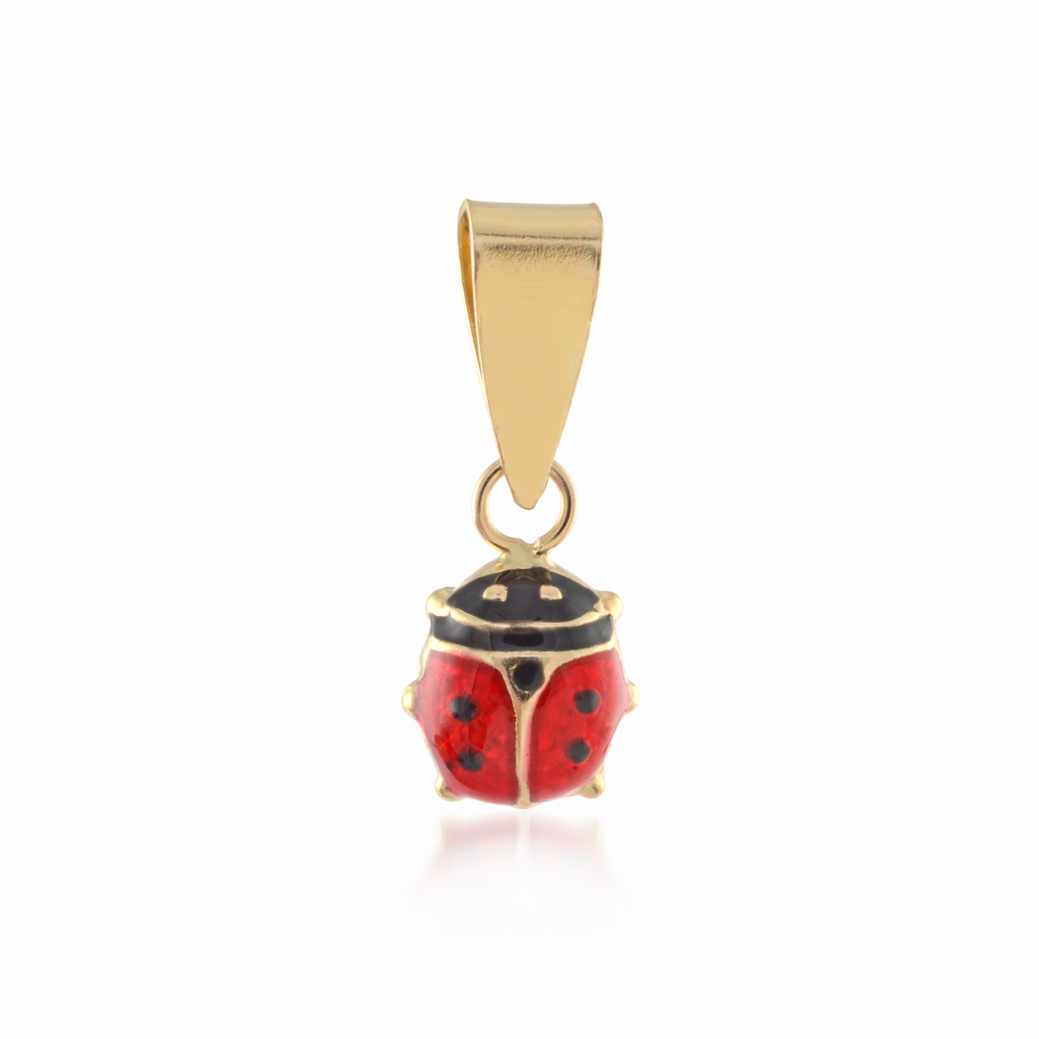 Ladybug pendant for babies or children with enamel  - 10K yellow Gold