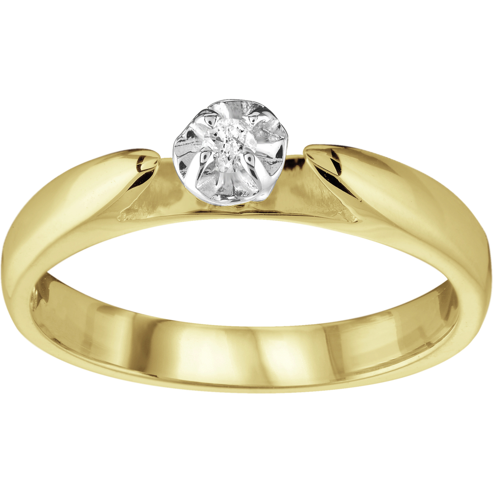 Engagement Ring - 10K yellow Gold & Diamond 0.03 Carat T.W.