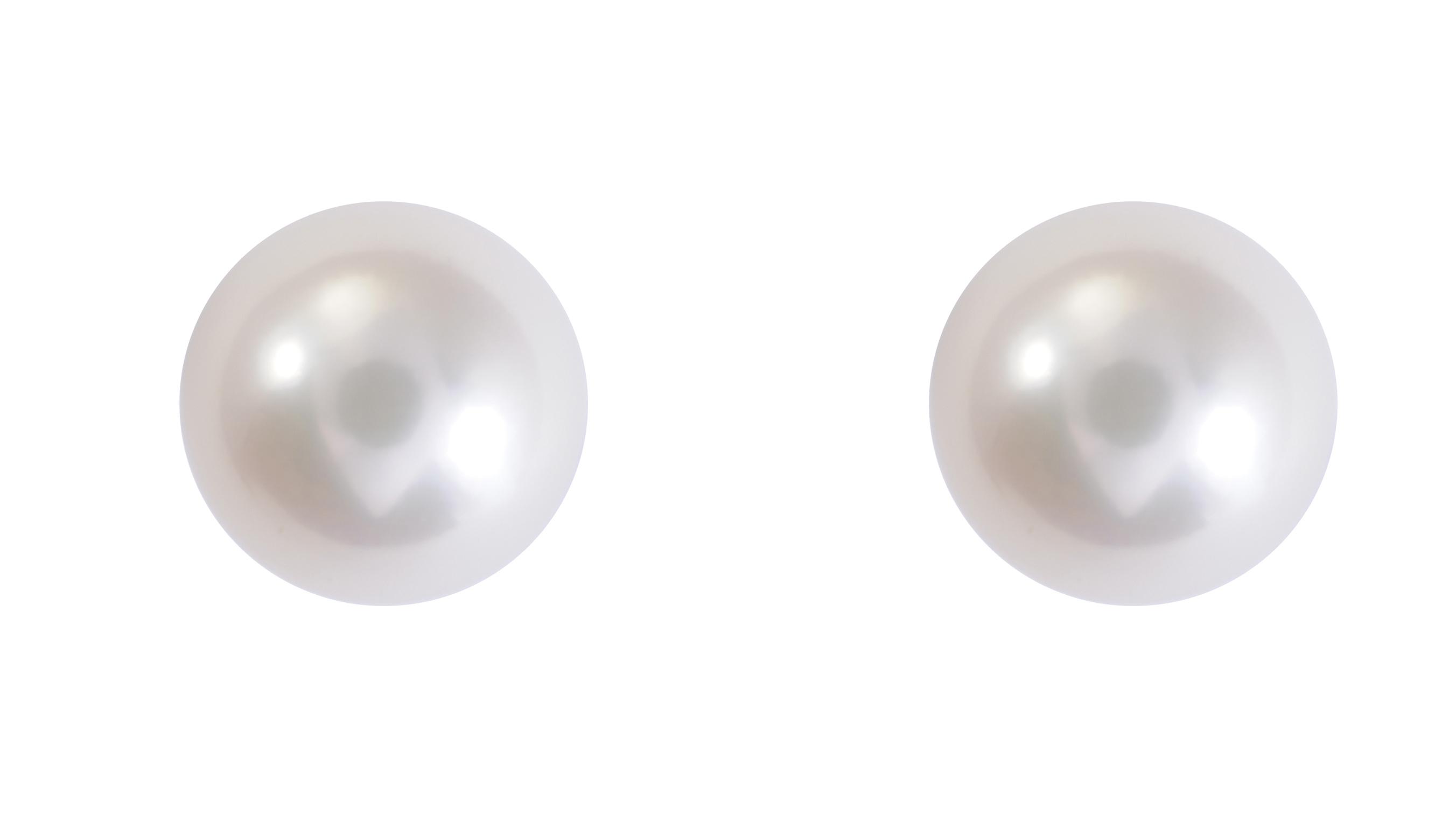 Boucles d'oreilles à tiges vissées serties de perles de culture de 6-6.5mm - en or jaune 14K