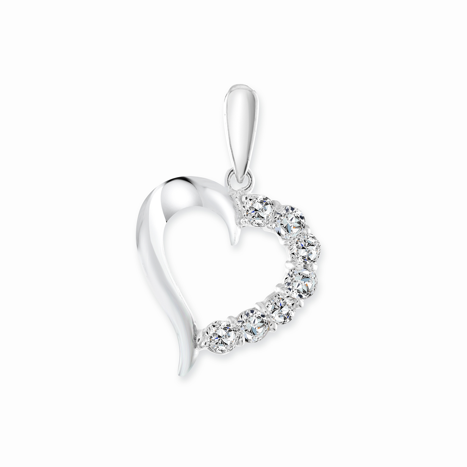 Heart pendant with cubic zirconia - in 14K white gold - Heart measures 1.2cm by 1.2cm