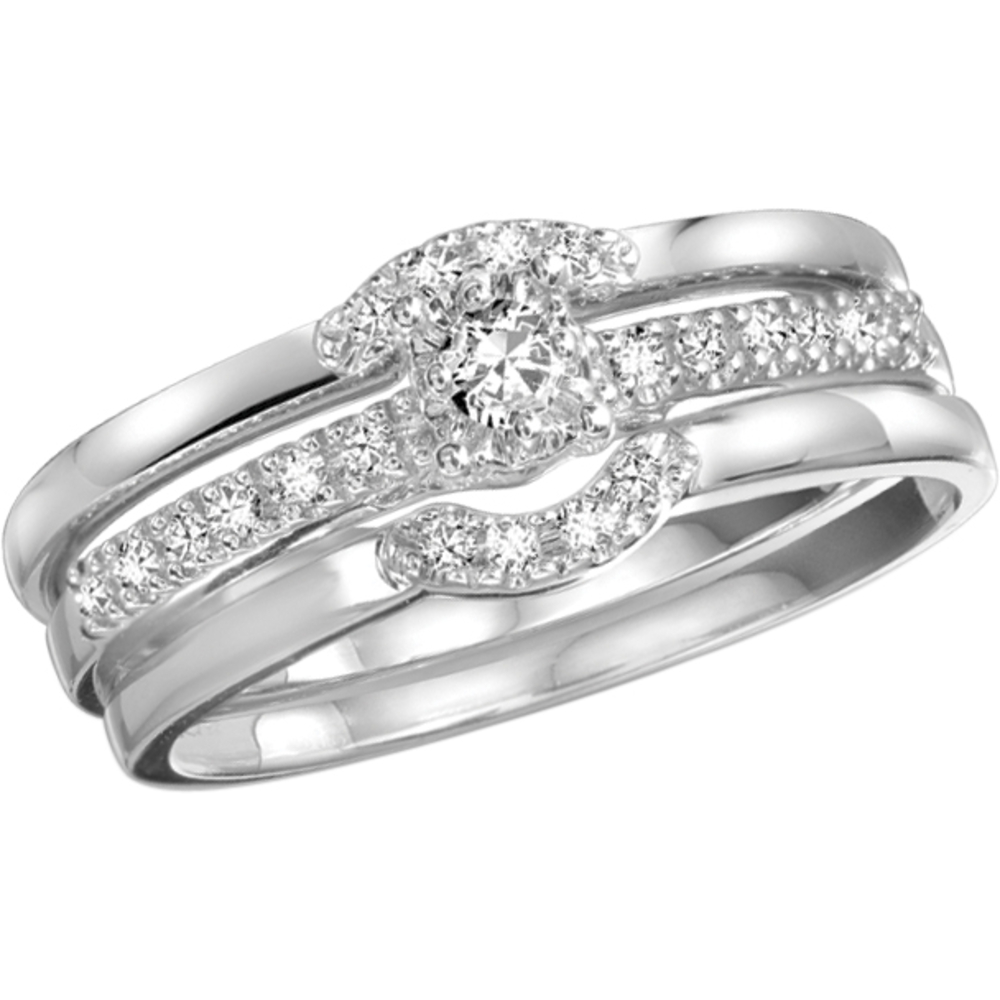Engagement ring and wedding bands - 10K white Gold & Diamonds 0.16 Carat T.W.