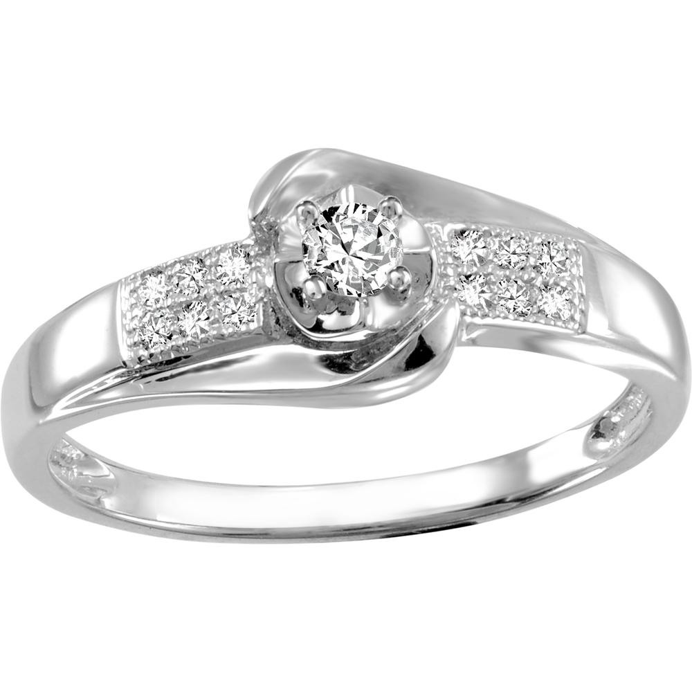 Bague de fiancailles - Or blanc 10K & Diamants totalisant 0.13 Carat