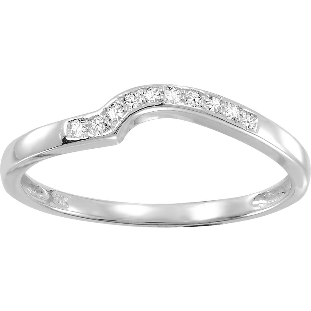 Jonc d'alliance - Or blanc 10K & Diamants totalisant 0.045 Carat
