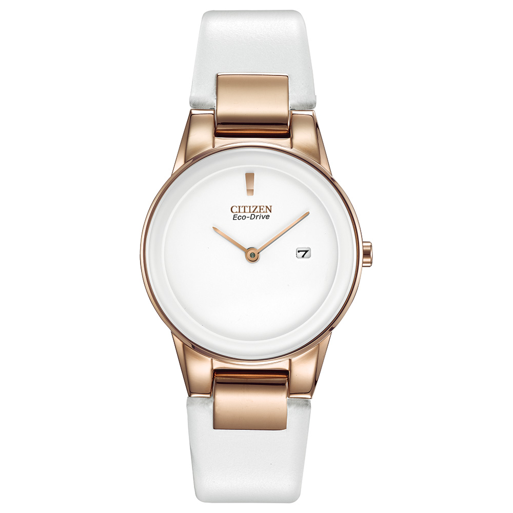 Eco-Drive watch for women - Stainless steel case & white leather strap.