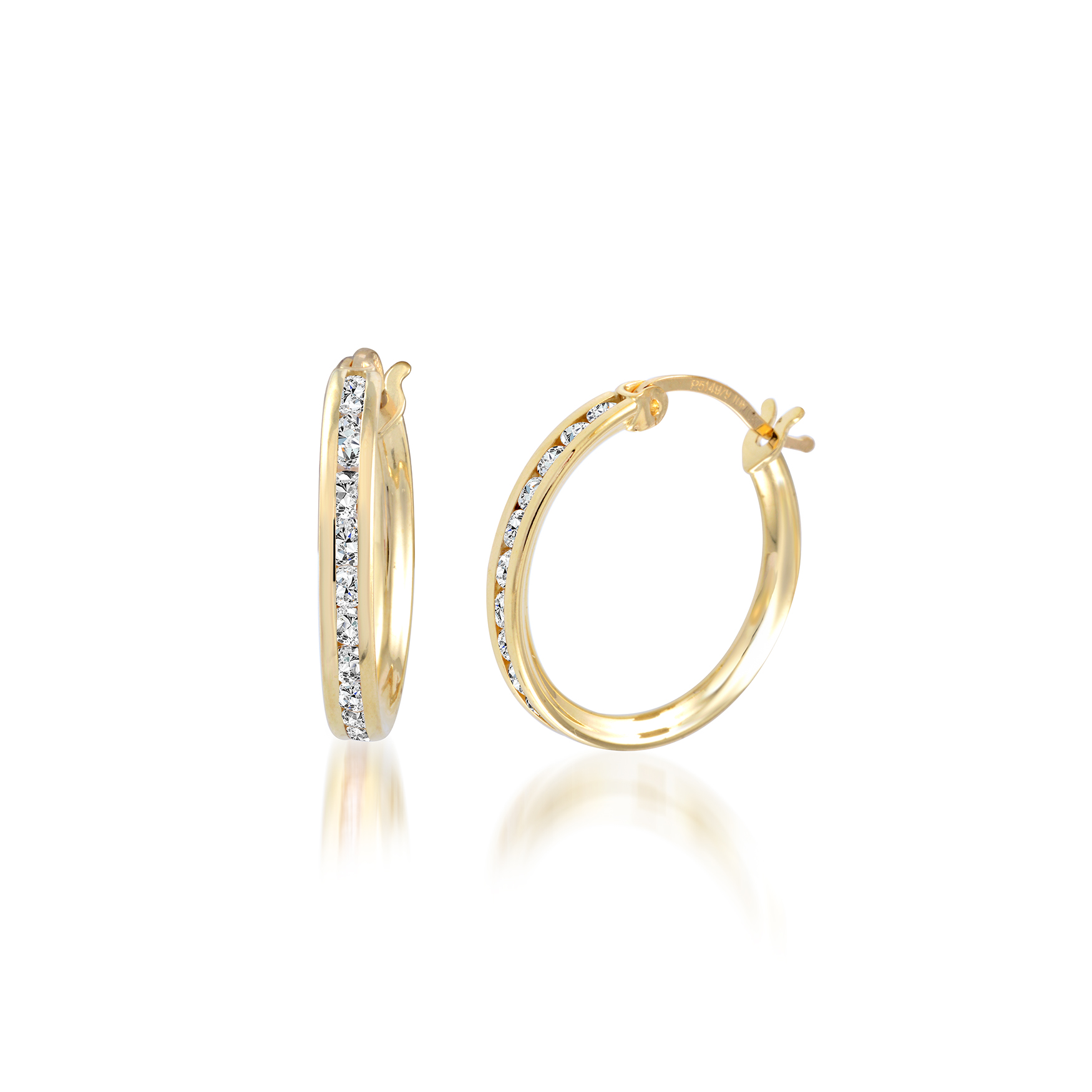 Boucles d'oreilles anneaux sertis de zircons cubiques - en or jaune 10K