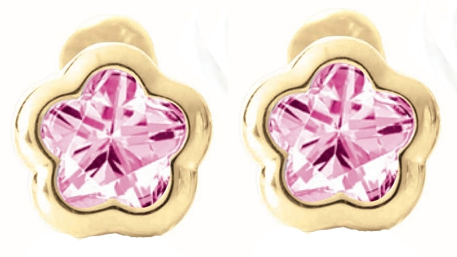 screw-back stud earrings for babies - 14K yellow Gold & Created pink sapphires (month of October)