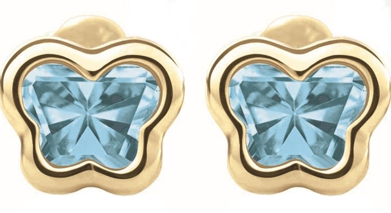 Boucles d'oreilles BFLY à tiges vissées pour bébé - Or jaune 14K & Topazes bleues (mois de Décembre)