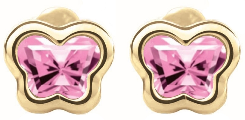 BFLY screw-back stud earrings for babies - 14K yellow Gold & Created pink sapphires (month of October)
