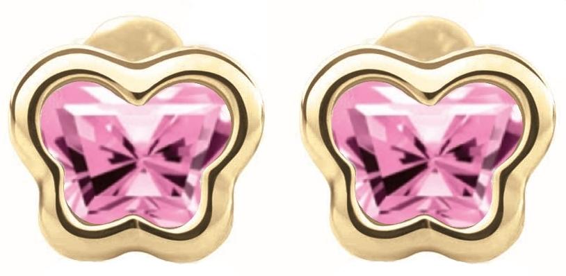 Boucles d'oreilles BFLY à tiges vissées pour bébé - Or jaune 14K&Saphirs roses de laboratoire (mois d'Octobre)